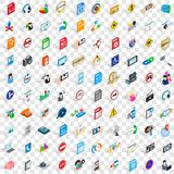 100 social icons set, isometric 3d style Royalty Free Stock Image