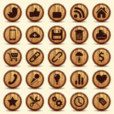 Social Icons, wood texture Buttons Set. Illustrated with Illustrator CS and EPS10. Vector with transparency Royalty Free Stock Image