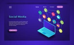 Social illustration för massmediabegreppsvektor Skrivbord pratstund, video, kamera, telefon Massmedia tillfredsställer för att gr stock illustrationer