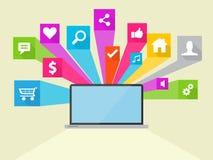 Social illustration för massmediavektorsymbol Arkivbild
