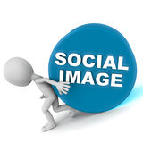 Social image. Holding your social image in place, a little man tried hard to stop the rolling stone from going down Stock Photo
