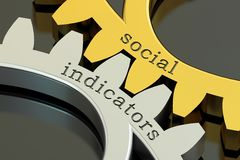 Social indicators concept on the gearwheels, 3D rendering. Social indicators concept on the gearwheels, 3D Stock Image