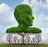 Social Inequality. Concept as a giant tree shaped as a human head blocking the light to smaller trees that have lost their leaves below as an economic symbol of Royalty Free Stock Photo