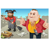 Social inequality, rich man and janitor outdoor Royalty Free Stock Images