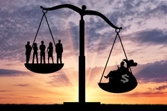 Social inequality between the rich and ordinary people. Social inequality. Social inequality between the rich and ordinary people royalty free stock images