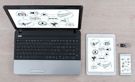 Social information sharing concept on different devices Royalty Free Stock Photos