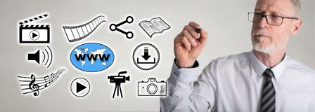 Businessman drawing social information sharing concept stock images