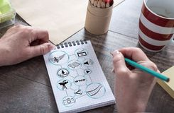 Social information sharing concept on a notepad Royalty Free Stock Photos