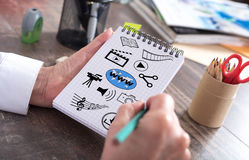 Social information sharing concept on a notepad Stock Photo