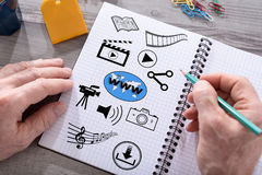 Social information sharing concept on a notepad Royalty Free Stock Photography