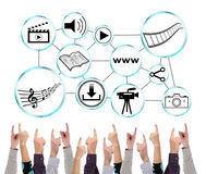 Social information sharing concept pointed by several fingers Royalty Free Stock Image