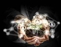 Social interaction concept . 3D render. Close of human hands holding with care networking concept. 3D render Stock Images