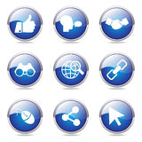 Social Internet Blue Vector Icon Design Set Royalty Free Stock Image