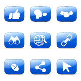 Social Internet Square Vector Blue Icon Stock Images