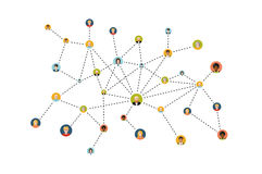 Social isolatad för nätverkslägenhetillustration på vit royaltyfri illustrationer
