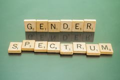Social Issues Scrabble Letter Tiles Gender Spectrum. Letter tiles spelling out Gender Spectrum, to discuss controversial policies and interpretations of the Royalty Free Stock Image
