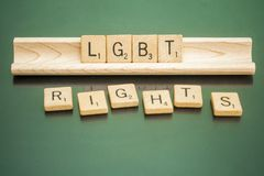 Social Issues Scrabble Letter Tiles LGBT Rights. Letter tiles spelling out LBGT Rights, to discuss controversial policies and interpretations of the United Stock Photography