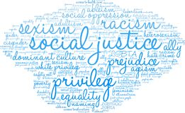 Social Justice Word Cloud. On a white background Stock Images