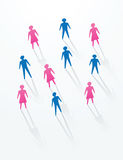 Social life concepts. Man and woman paper cutout people sihouettes, for social life in society Stock Image
