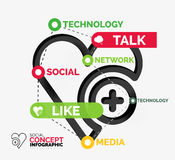 Social like infographic keywords Royalty Free Stock Images