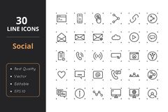 30 Social Line Icons. High quality social line icons. Icons for user interfaces and web Stock Image