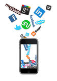 Social logos and and phone Stock Photos