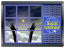 Social Loneliness. Social Networks and Social Media can develope negative impacts on frequent users Royalty Free Stock Image