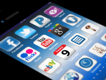 Social Madia apps on a Apple iPhone 4S Royalty Free Stock Images