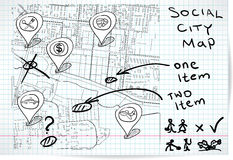 Social map of sketch Stock Images