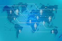 Social map of the world with images silhouette Royalty Free Stock Images