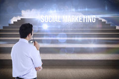 Social marketing against steps against blue sky Royalty Free Stock Image