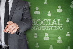 Social marketing on blackboard Stock Image