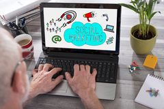 Social marketing concept on a laptop screen royalty free stock photo