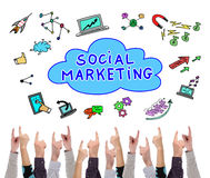 Social marketing concept pointed by several fingers Stock Images