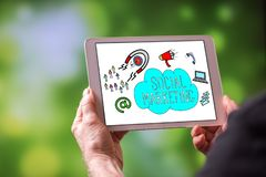Social marketing concept on a tablet royalty free stock photo