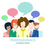 Social marketing, creative team, gossip, callout flat vector. Social marketing word of mouth creative team gossip flat web infographic internet online technology royalty free illustration