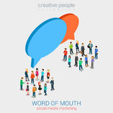 Social marketing word of mouth gossip flat 3d web isometric. Infographic internet online technology concept template. Groups of micro people and chat callout stock illustration