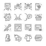 Social marknadsföringslinje symbolsuppsättning Inklusive symbolerna som ökningsstolpen, virus-, att marknadsföra, nyckelord, åhör Royaltyfri Foto