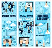 Social mass media and internet security. Media news and internet security banners. Social mass media and cloud web data protection. Vector computer and vector illustration