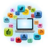 Social massmediabärbar dator Royaltyfri Foto