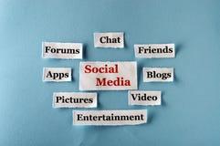 Social massmediacollage Arkivfoton