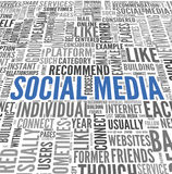 Social massmediaconept i ordetikettsmoln Fotografering för Bildbyråer