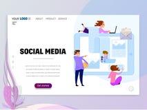 Social massmediaHomepage-mall för website eller landningsida vektor illustrationer