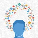 Social massmediaman i handling vektor illustrationer