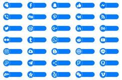 Social massmediaserie för knappar stock illustrationer