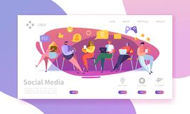 Social massmediaservice som landar sidan Begrepp för marknadsföringskommunikation med den plana mallen för folkteckenWebsite royaltyfri illustrationer
