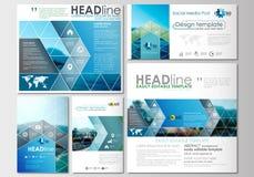 Social massmediastolpeuppsättning för illustrationstil för affär företags mallar Täcka designen, orienteringar för garnering för  Arkivbild