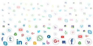 Social massmediasymbolsbakgrund för tapet på vit bakgrund Royaltyfria Foton