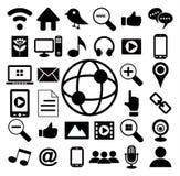 Social massmediasymbolsuppsättning fotografering för bildbyråer