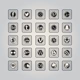Social massmediasymbolsuppsättning vektor illustrationer